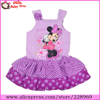 Wholesale 5 piece/lot 2013 New Fashion Girls Summer Dresses,Purple Minnie Knitted&Chiffon One-piece Dress,Children Brand Clothes
