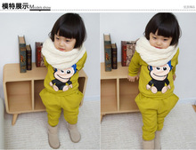 [Little Beauty] Spring Lovely children clothing set casual style girls set suits long sleeve hoodies + long pants 3-8Y(China (Mainland))