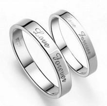 2016 горячее надувательство любовь навсегда надписи стерлингового серебра 925 пробы lovers'wedding кольцами пара ювелирных изделий перевозка груза падения(China (Mainland))