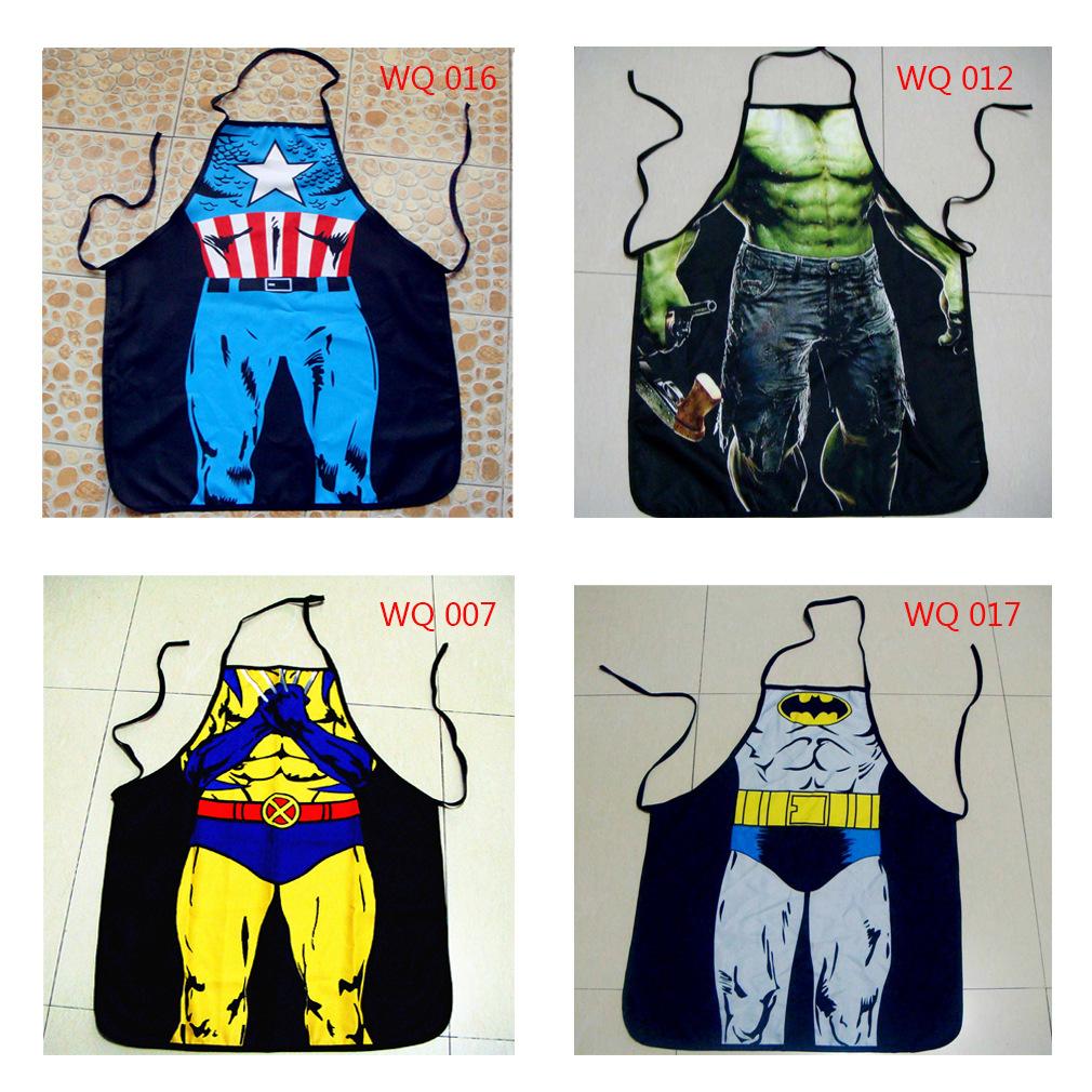 Superman Batman character FUNNY NOVELTY couple party apron sex sleeveless apron free shipping(China (Mainland))