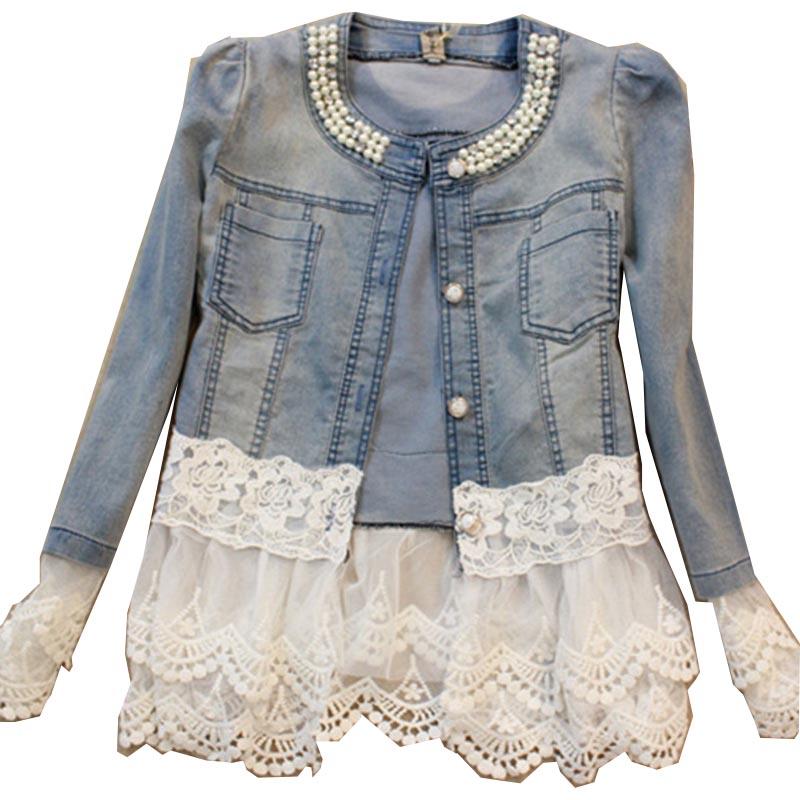 New 2016 Spring Jackets Women Outerwear Slim Lace Patchwork Long-sleeve Denim Jacket Lady Vintage Jeans Jacket Lace Jacket C009Одежда и ак�е��уары<br><br><br>Aliexpress