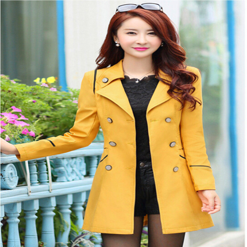 Trench Mid-Long Slim Women Fashion Double Breasted Coat Autumn Women's Solid Turn-Down Collar Trench Coats
