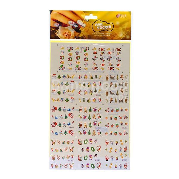 High quality BLE Christmas Snowman Santa Nail Art Water Transfer Decal Sticker(China (Mainland))
