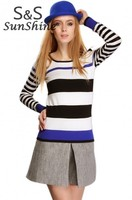 2014 Autumn Winter New Korean Style Fashion Casual Long Sleeve Stripe Thin Sweater Pullover For Women 50