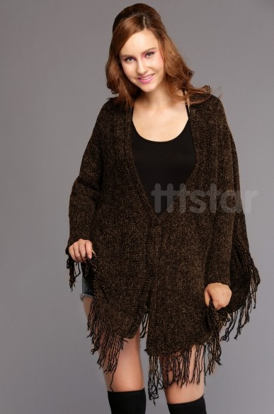 New 2014 Women Wool Sweater Knit Tassels Batwing Cardigan Oversized Cape Woolen Sweater One Size Black/ Gray/ Camel b7(China (Mainland))