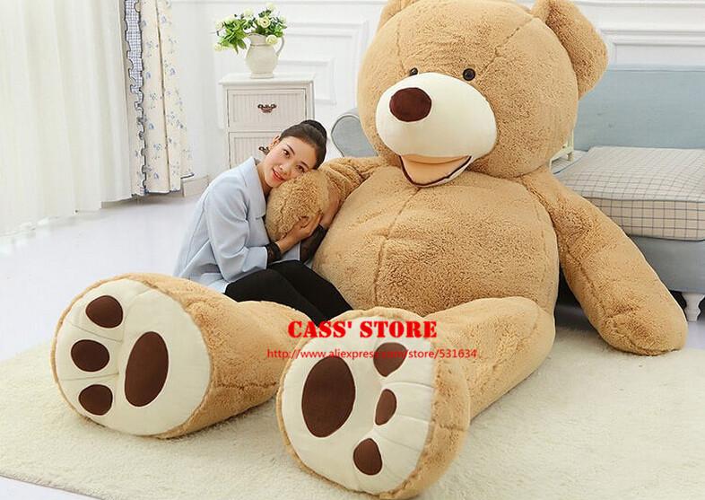 1 Piece 240cm Soft Giant Teddy Bear Plush Toys Stuffed Plush Bear Brown Snuggle Bear Chrismas Gift CA009(China (Mainland))