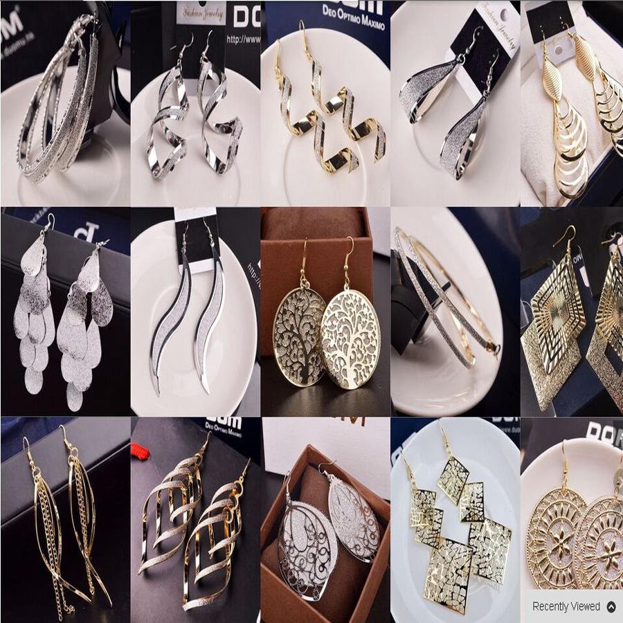 18K gold earrings Silver earrings Dangle Earrings Feather Woman Crystal Pearl earrings Jewelry Gift 48PCS mixed batch(China (Mainland))