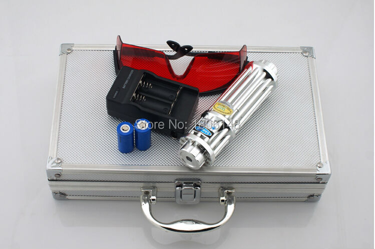 450nm 100w 100000mw high power blue laser pointer burning paper lit cigarette pop balloon with 5 laser heads+glasses+charger+box(China (Mainland))