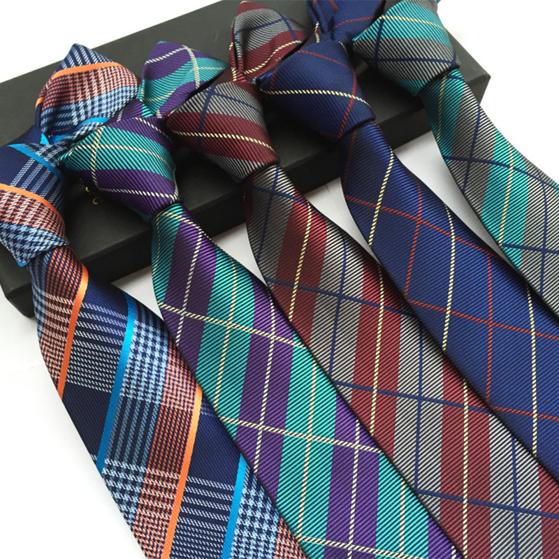 Fashion Mens Accessories font b Plaid b font Polyester Ties for Men Brand Neckwear Business Wedding