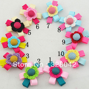 Trail order Grosgrain Ribbon flower clip fabric flower with polka dots button hairpin baby girl accessories 60 pcs/lot
