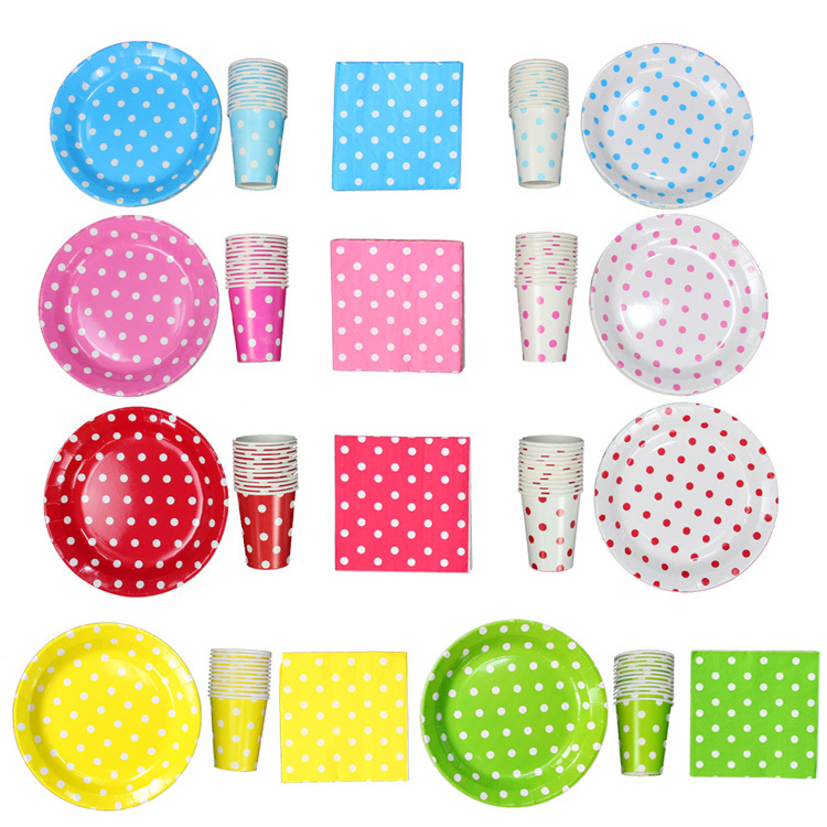 45pcs/bag Birthday supplies dot paper tableware paper plates paper cup tissue(China (Mainland))