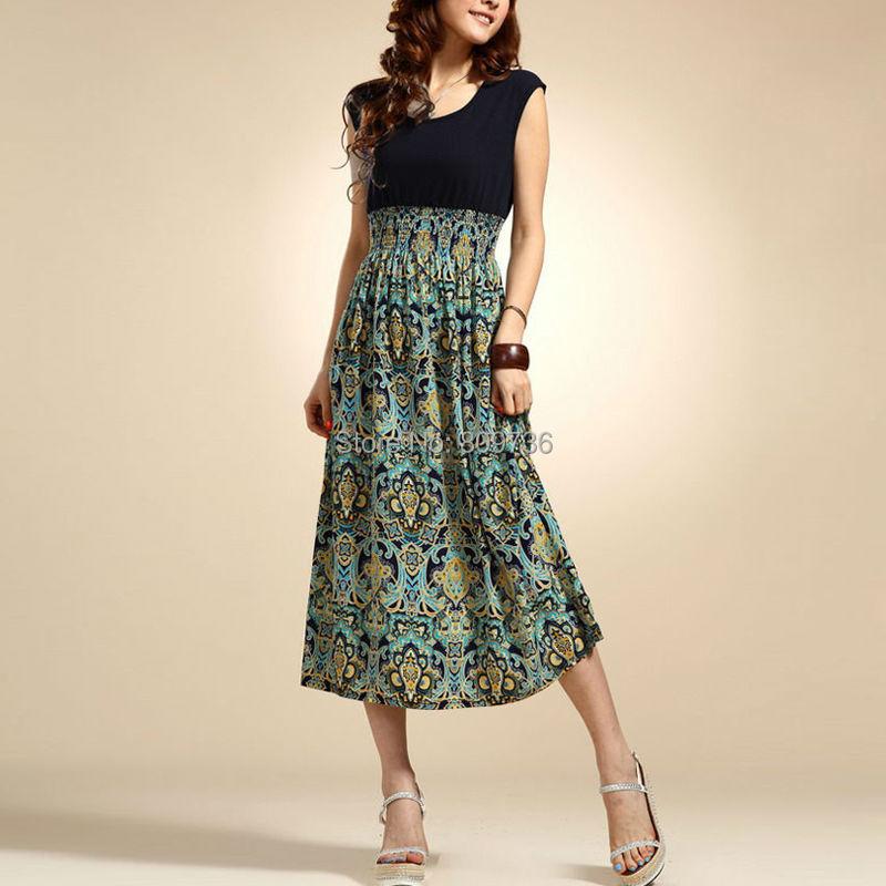 New Brand 2015 Summer Women Casual Print Bohemia Sleeveless Long Dresses Girl Fashion Maxi Beach Dress 4 Colors Free(China (Mainland))