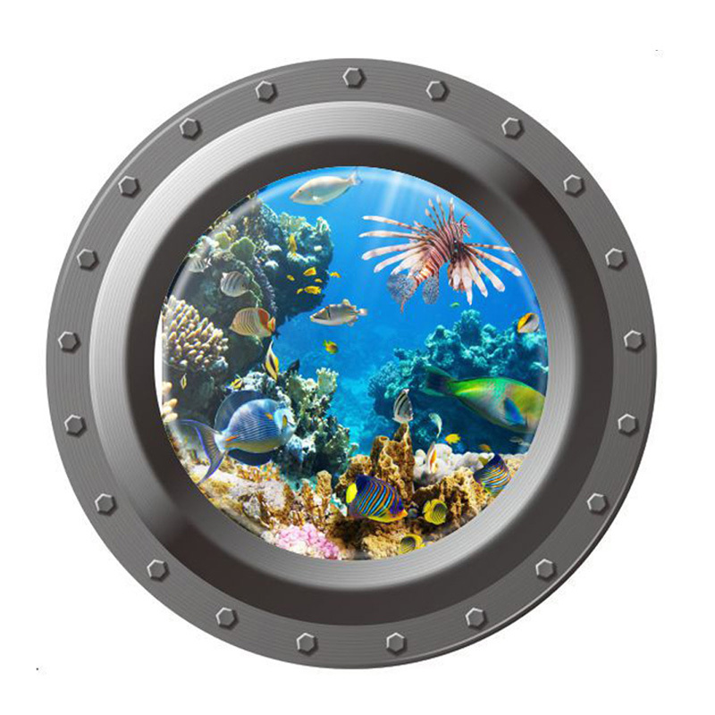 Гаджет  Counterfeit Submarine Window Underwater World 3D Wall Sticker for Kids Room Wall Stickers Home Decor Mural Wallpaper None Дом и Сад