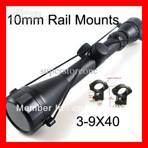 Wholesale Free shipping Pro 3-9x40 Hunting Mil Dot Air Rifle Gun Outdoor Optics Sniper Deer Hunting Scope + 11 mm Rail MOUNTS(China (Mainland))