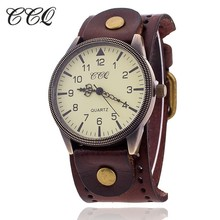 Buy CCQ Brand Women Vintage Cow Leather Bracelet Watch Men Casual Sport WristWatch Luxury Quartz Watch Male Relogio Feminino 1772 for $3.89 in AliExpress store