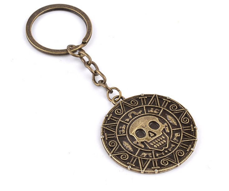 Personalized Pirates Of the Caribbean Aztec SKull Keychain Alloy Gold Bronze Car Keychains For Guys(China (Mainland))