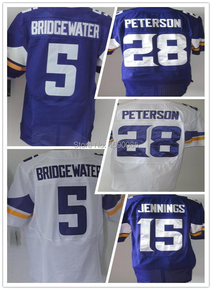 Free Shipping Cheap Elite Stitched Jersey #5 Teddy Bridgewater #28 Adrian Peterson American Football Jersey Accept Mix Order(China (Mainland))