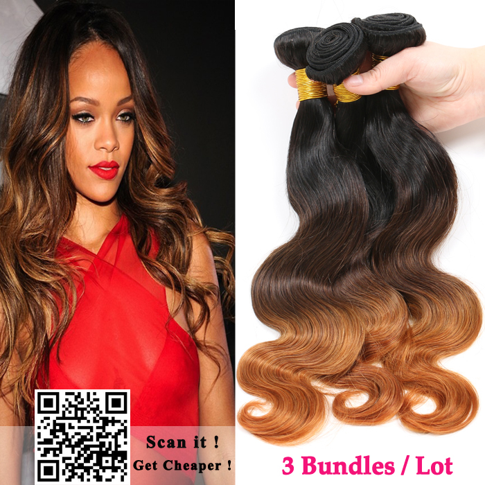 Ombre Hair Extensions Cheap 6A Brazilian Virgin Hair Body Wave 3pcs Brazilian Human Hair Weave Bundles Rosa Hair Products(China (Mainland))