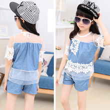 Fashion girl lace sets new kids girl jeans sets mesh t shirt+ short pants children girls summer clothing set baby girl clothes(China (Mainland))