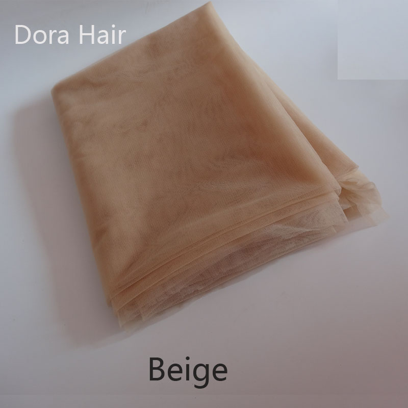 Beige 1 yard Swiss Lace Net for Making Wig Toupee Top Closure Foundation Hair Accessories Monofilament(China (Mainland))