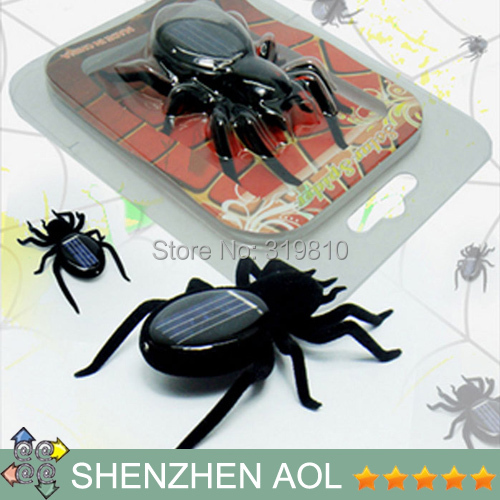 2pcs/lot New energy toy Solar Powered Spider Educational Toys Solar 8 Legs Spider Black Children Christmas gift(China (Mainland))