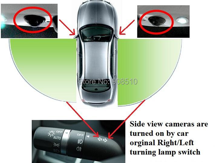 2pieces waterproof wide angle smart intelligent switch car/auto/vehicle side view camera/camara/kamera(with smart switch system)(China (Mainland))