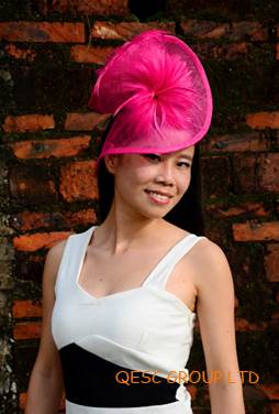 Fuchsia hot pink Sinamay Fascinator with Feathers for formal occasion.FREE SHIPPING.(China (Mainland))