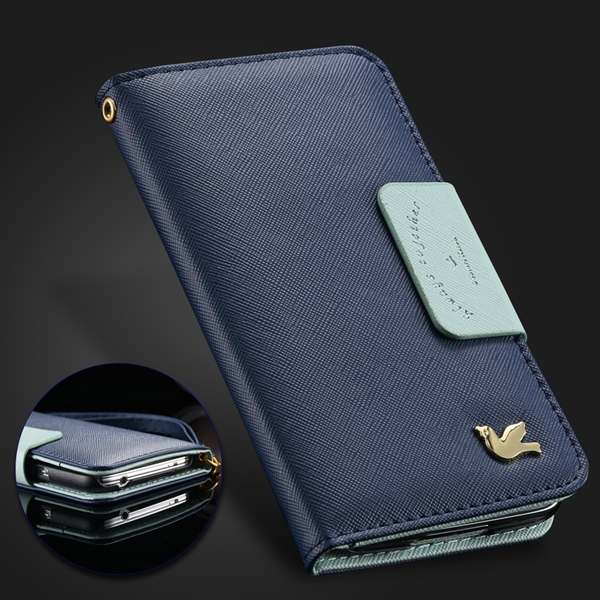 Retro Cute Fly Brid Logo High Quality PU Leather Case For Iphone 5 5s 5g Flip Wallet Card Slot Mirror Cover For Iphone 5s Case(China (Mainland))