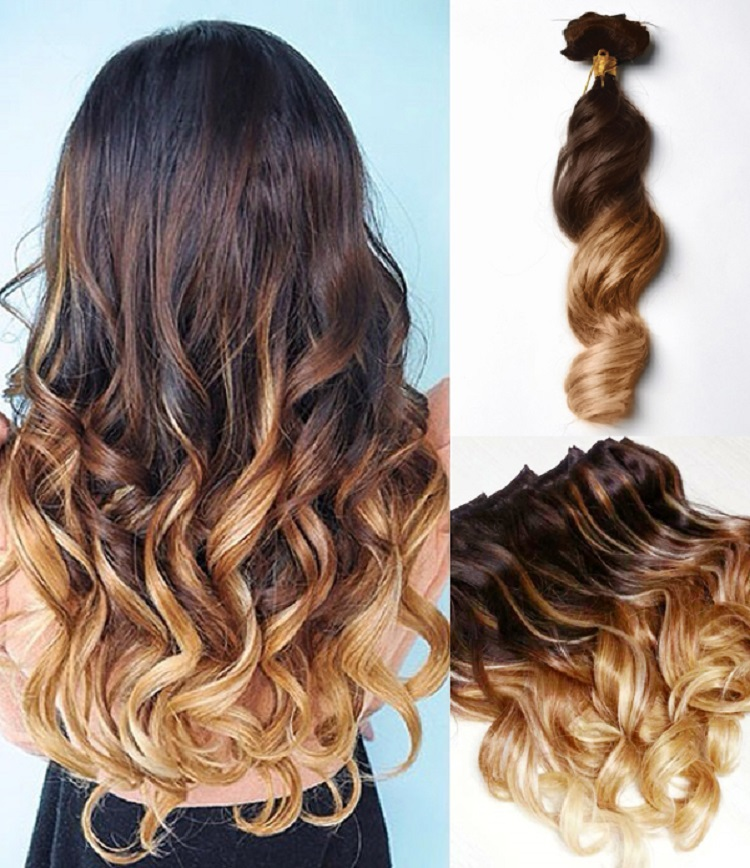 three tones ombre clip in hair extensions body wavy 9pcs. Black Bedroom Furniture Sets. Home Design Ideas