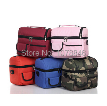 New picnic lunch bag insulated cooler bag two compartments lunch box, lancheira bolsa termica fresh ice bags free shipping