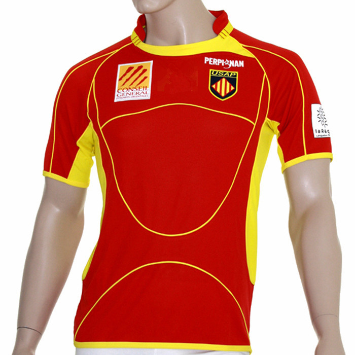 France Super 14 USAP Rugby Jersey Homecourt Red Rugby Shirt(China (Mainland))