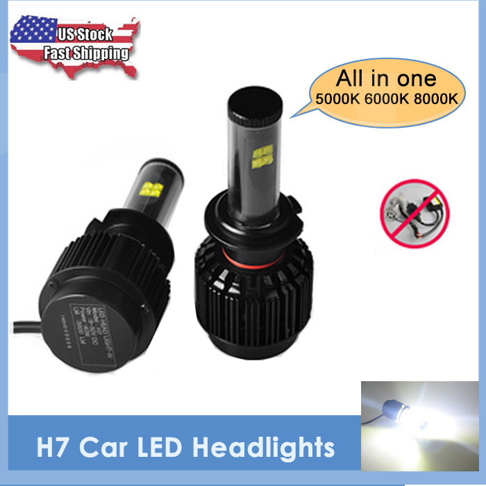 USA Stock 2015 New 1 Set All in one LED Headlight H7 40W 3600LM DC8-32V CREE-XML2 Daytime Driving Light Lamp Auto Led Headlamp