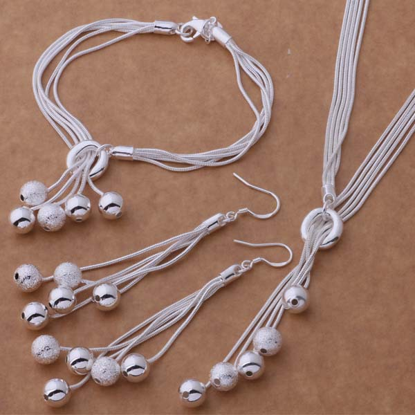 wholesale free shipping 925 silver Fashion jewelry Necklace earrings bracelet WT-271(China (Mainland))