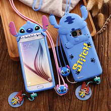 3D Cute Cartoon Stitch Case Samsung Galaxy S7 S6 Edge Soft Silicone Back Cover Long Neck Strap Capa Coque - Floveme A++++ Technology Co.,LTD store