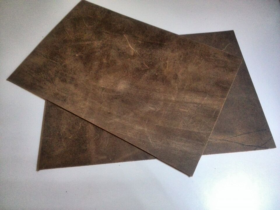 Free shipping brown genuine grain cowhide leather fabric, diy leather piece, 1.9mm, 14cm x21cm(China (Mainland))