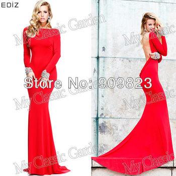 2014 Tarik Ediz Bateau Neck Long Sleeves Silvery Beaded Open Back Mermaid Court Train Evening Gown Backless Dress New 92271