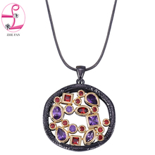 Buy ZHE FAN AAA Cubic Zirconia Unique Black Gold Color Necklace Women Men Two Tone Plating Fashion Jewelry Valentines Gift + Chain for $10.39 in AliExpress store
