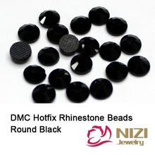Flatback Rhinestones High Shine DMC Hotfix Rhinestones Black  Round Shape Glass Strass For Garment Accessories Many Sizes Strass(Hong Kong)