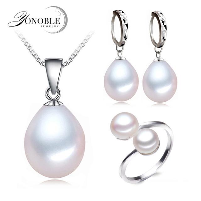 Реальные пресноводного жемчуга комплект ювелирных изделий женщин, природный жемчуг устанавливает стерлингового серебра 925 девушка день рождения обручальное подарок высочайшее качество