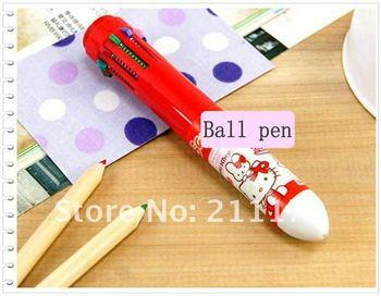 10 color ball pen,Ballpoint Pens 10 color,Free shipping 180pcs/lot,HELLO KITTY 10 color Ballpoint Pens,F0035