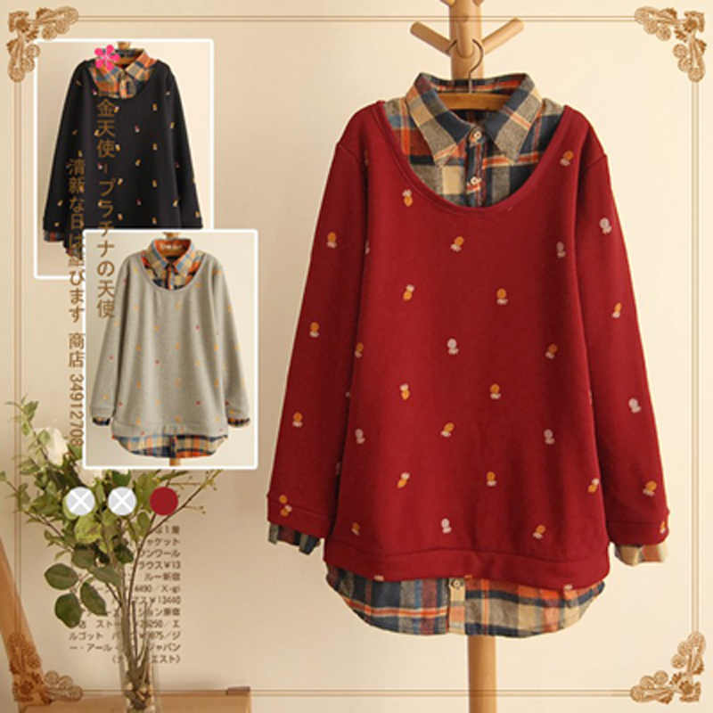 2015 Spring Autumn Sweatshirts Women Small Pineapple Blouses Print Tops Long sleeve font b Plaid b
