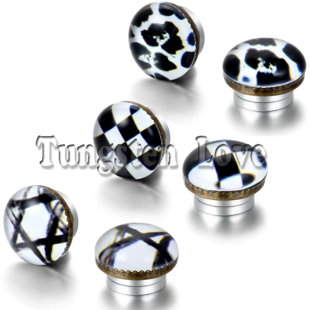 Punk Black And White Plaid Hexagram Leopard Magnetic Earrings Fake Ear