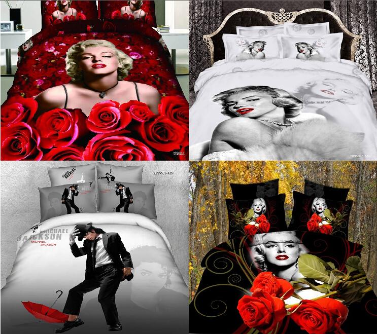 Marilyn Monror Bedding Set 5 Designs Michael Jackson 3D Designer Bedding Sets Conforter Set For Girls jogo de cama Bedroom Set(China (Mainland))