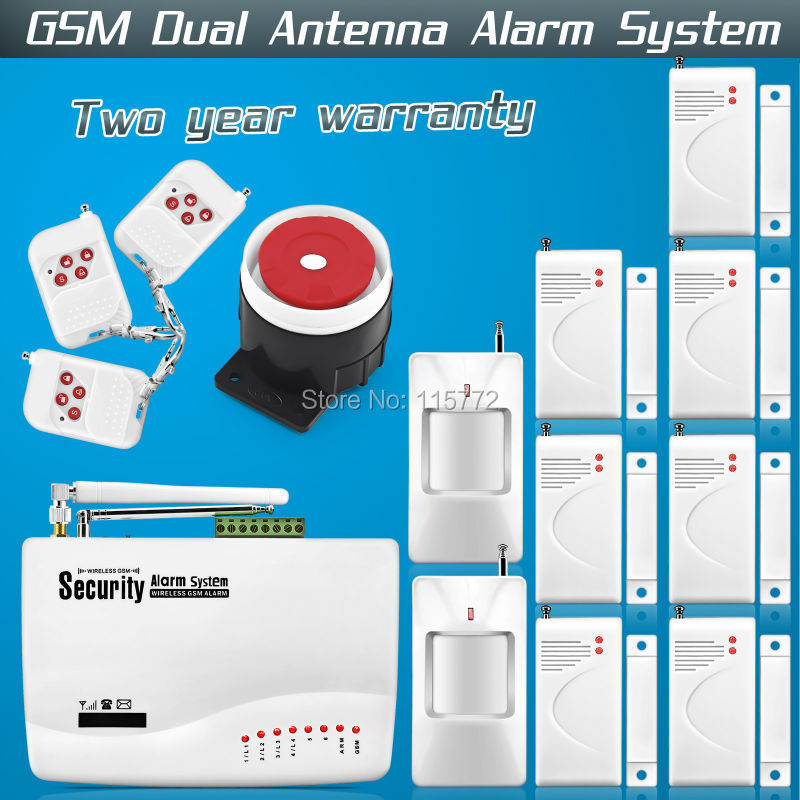 Free shipping!850/900/1800/1900MHz GSM Dual Antenna Home Voice Security Alarm Tri-band Antenna Alarm system with Russian manual