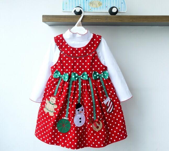 Christmas dress red sets shirt princess dress cute dot velvet dresses
