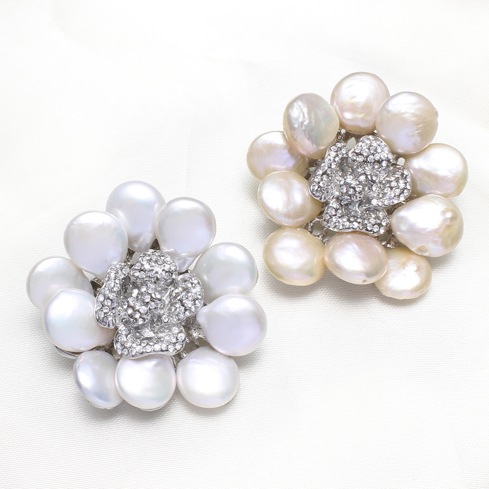 Statement Flower Rhinestone Wedding Bridal Gifts Womens Brooch can be used as brooch or pendant Natural Real Pearl Brooches Gift(China (Mainland))