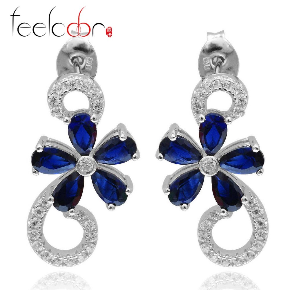 Feelcolor 3.33ct Blue Sapphire Flower Drop Earrings Dangle 925 Solid Sterling Silver Romantic Fashion Jewelry For Women<br><br>Aliexpress
