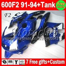 HONDA CBR600F2 Blue CBR 600F2 91 92 93 94 CBR600 FS 4MC1784 600 F2 blue white black 1992 1993 1991 1994 Fairing Kit - Motoclub store