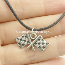 Free shipping 17073 Silver Flag Banner Chequered Flag Pendant 17″ Choker Collar Short Necklace 14624