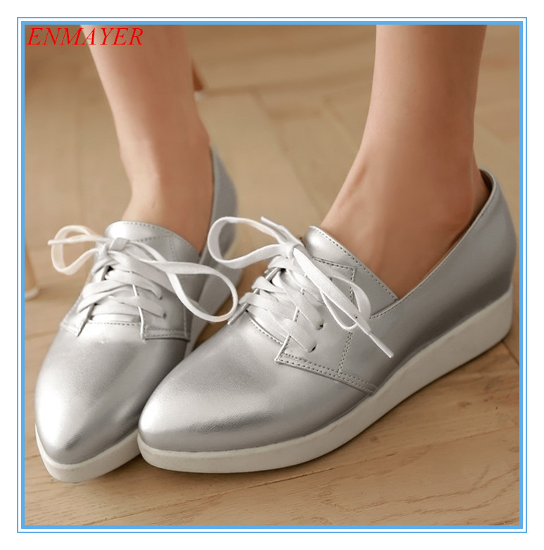 ENMAYER womens ballet flat shoes silver white blue pink ladies flat shoes high quality girl ballet flats for women Casual(China (Mainland))